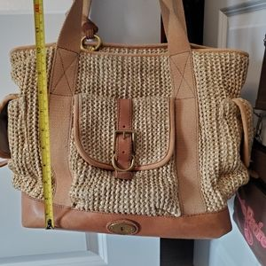 Vintage Fossil straw/wicker leather tote